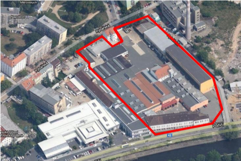 Industrial premises in the wider city centre of Brno, covering an area of 18 721 m² sold for retail/residential development.